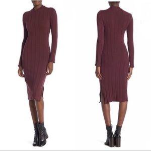 Socialite Ribbed Mock Neck Long Sleeve Dress